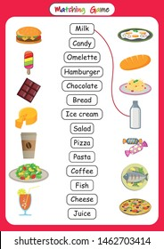 Matching Words to Pictures, Printable Kids Word matching Games