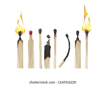 Matchsticks, flame. Stick icon set. Burnt match stick.