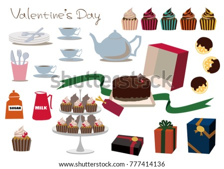 Material Collection Chocolate Gift Cake Material Stock Vector