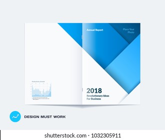 Material design of brochure set, abstract annual report, horizontal cover layout, flyer in A4 with vector colourful layers