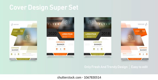 Material design of brochure set, abstract annual report, horizontal cover. Set of design of brochure, abstract annual report, cover modern layout, flyer.
