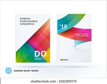 Material design of business brochure set, abstract horizontal cover