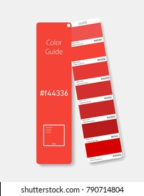 Material Design Colors. Color swatch concept modern realistic style. Color palette guide. Color scale. Design guide, fan, catalogue. Material design Red. Shade chart. Vector illustration