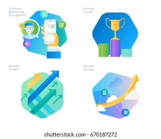 Material design icons set for CRM, business strategy, growth and sucess. UI/UX kit for web design, applications, mobile interface, infographics and print design.
