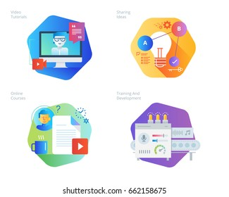 Material design icons set for education, video tutorials, online courses, training and development, sharing ideas. UI/UX kit for web design, applications, mobile interface, print design.