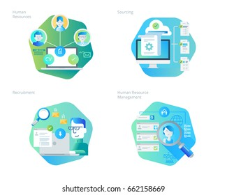 Material design icons set for human resources, recruitment, HR management, career. UI/UX kit for web design, applications, mobile interface, infographics and print design.