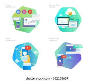 Material design icons set for project management, business data security, video conferencing, business live streaming. UI/UX kit for web design, applications, mobile interface, print design.