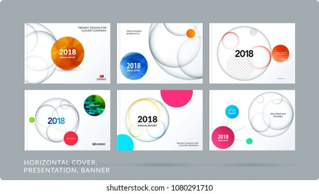 Material design presentation template with colourful circles intersections. Abstract vector set of modern horizontal banners