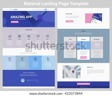 Material Design Responsive Landing Page One Stock Vector (Royalty ...