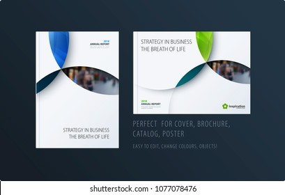 Material design template with blue colourful circles intersections. Creative abstract brochure set, annual report, horizontal cover, flyer