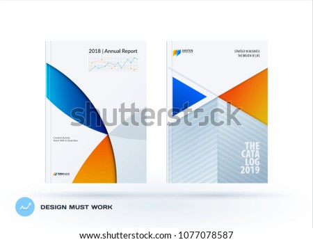 Material design template with blue orange colourful circles intersections. Creative abstract brochure set, annual report