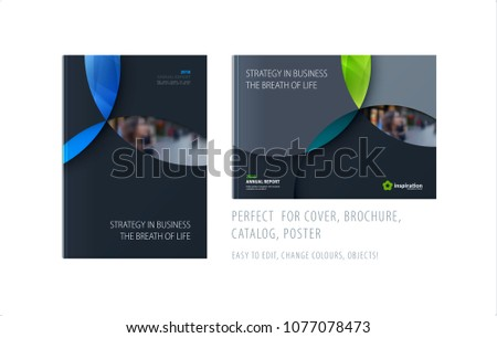 Material design template with colourful circles intersections. Creative abstract brochure set, annual report, horizontal cover, flyer