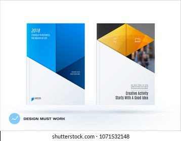 Material design template. Creative blue yellow colourful abstract brochure set, annual report, horizontal cover