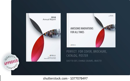Material design template with red colourful circles intersections. Creative abstract brochure set, annual report, horizontal cover, flyer