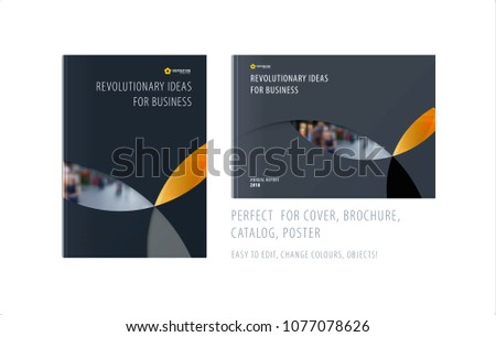 Material design template with yellow grey colourful circles intersections. Creative abstract brochure set, annual report, horizontal cover, flyer