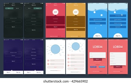 Material Design UI, UX and GUI template set with six different Account Sign In and Sign Up Screens for Mobile Apps and Responsive Website.