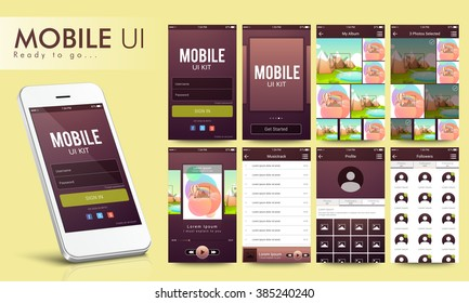 Material Design UI, UX Screens, flat web icons for mobile apps, responsive websites with Login Form, Get started Screen, Album Screen, Music-track Screen, Profile Screen, Followers Screen.