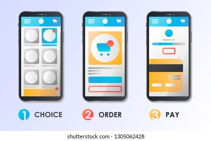 Material Design UI/UX and GUI Screens. Mobile apps kit template. User interface display. Concept for web page, banner, presentation, social media. Flat vector illustration. Choice, Select, Order, Pay.
