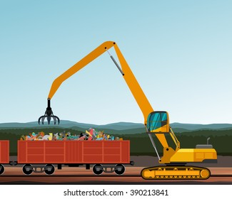 Material handler crane crawler machine with peel grab attachment. Vector illustration background