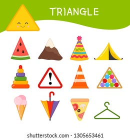 Materials for kids learning forms. A set of triangle shaped objects