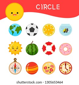 Materials for kids learning forms. A set of circle shaped objects