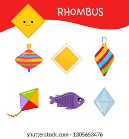 Materials for kids learning forms. A set of diamond shaped objects