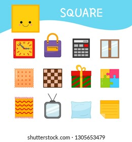Materials for kids learning forms. A set of square shaped objects
