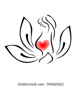 Maternal love. Pregnant woman in lotus flower isolated on white background. New life origin. Sign magazine for pregnant women, clothes shop. Maternity hospital logo, stylized vector symbol.