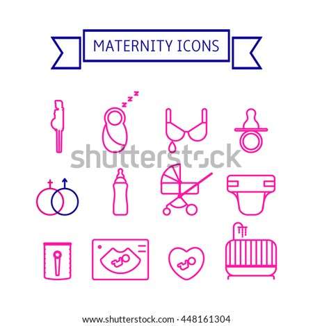 8992384c1 Maternity and breastfeeding vector icon set. Set includes - pregnant woman
