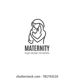 Maternity concept - happy woman with newborn. Vector logo design template in linear style for your design