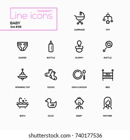 Maternity concept - line design icons set. Everything about babies and toddlers. Carriage, toy, diaper, bottle, dummy, rattle, spinning top, socks, dish, spoon, bath, duck, bed, baby, mother