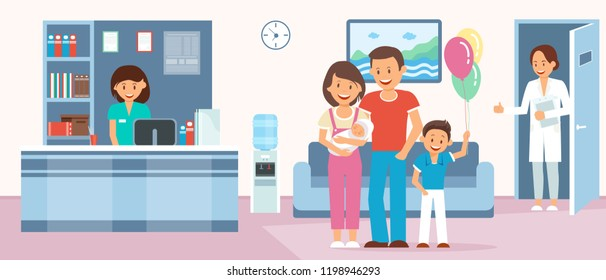 Maternity Home Concept. Reception Room in Maternity Clinic. Happy parents with Newborn in Hospital. Medical Health care Set. Doctor, Nurse and Family with Baby. Vector Flat Illustration.