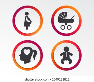 Maternity icons. Baby infant, pregnancy and buggy signs. Baby carriage pram stroller symbols. Head with heart. Infographic design buttons. Circle templates. Vector