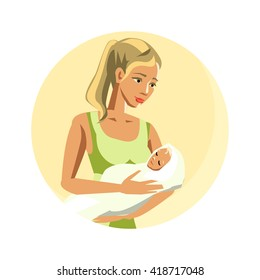 Maternity illustration in vector. Loving mother rocking newborn baby in diapers. A young woman in a green dress. Nurse. Blonde very young child is sleeping.