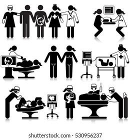 Maternity Medical Staff Icon Set