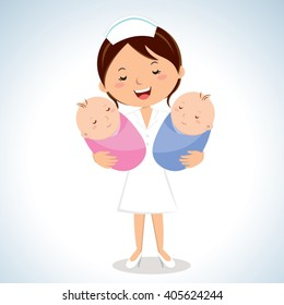 Maternity nurse carrying babies. Vector illustration of a cheerful nurse holding twins babies.