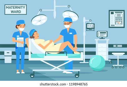 Maternity Ward Concept. Doctor examine Pregnant Woman. Maternity Hospital Ward. Childbirth at Clinic Set. Woman in Maternity Home. Medical Health care. Vector Flat Illustration.