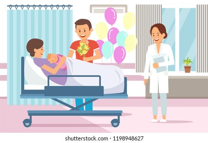 Maternity Ward Concept. Maternity Hospital Ward. Childbirth at Clinic Set. Woman in Maternity Home. Medical Health care. Mother, Father and Baby in Ward. Vector Flat Illustration.
