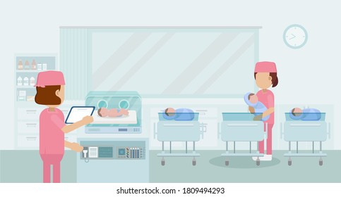 Mutterschaftsabteilung mit Krankenschwester und flachem Design, Vektorgrafik