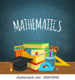 Math backdrop. Education background design. Science colorful vector composition.