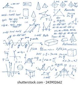 Math. Background with trigonometry formulas. Vector illustration.