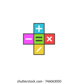 Math calculator logo, Mathematical symbols plus, minus, subtract, multiply, equals icon on the colored tiles, simple modern flat pictogram to mobile app.