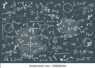 Math chalkboard vector illustration. Physics solving equation blackboard. Sketch with geometrical class problem solution or algebra formula. Higher mathematics Intelligence or complex calculation mess