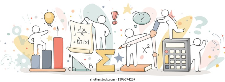 Math class with working little people. Doodle cute miniature of teamwork and science symbols. Hand drawn cartoon vector illustration for school subject design.