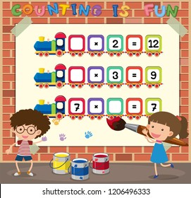 Math counting game template illustration
