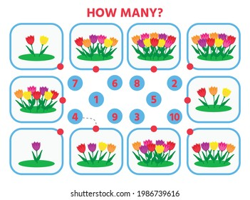 Math education for children. Count from 1 to 10. Flowers in the flowerbed. Education logic game for preschool kids. Vector Illustration