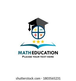 Math education logo template illustration. suitable for education, stem, maths, college, university, student etc