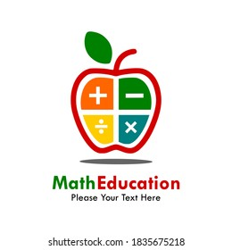 Math education logo template illustration. there are aplle with multiply