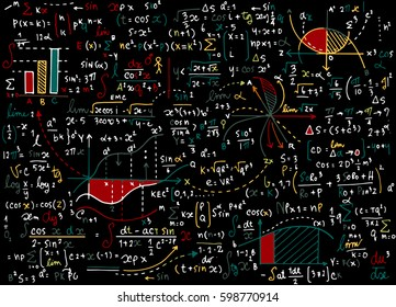 Math education vector pattern with handwritten formulas, tasks, plots, calculations and geometrical figures.vector illustration