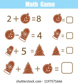 Math educational game for children. Solve equations. Study subtraction and addition. Mathematics worksheet for kids New Year and Christmas theme